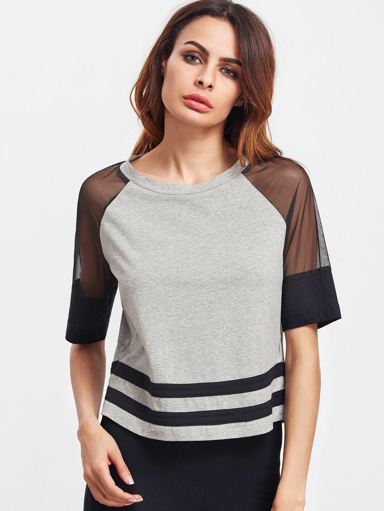 Contrast Mesh Raglan Sleeve Striped Hem T-shirt