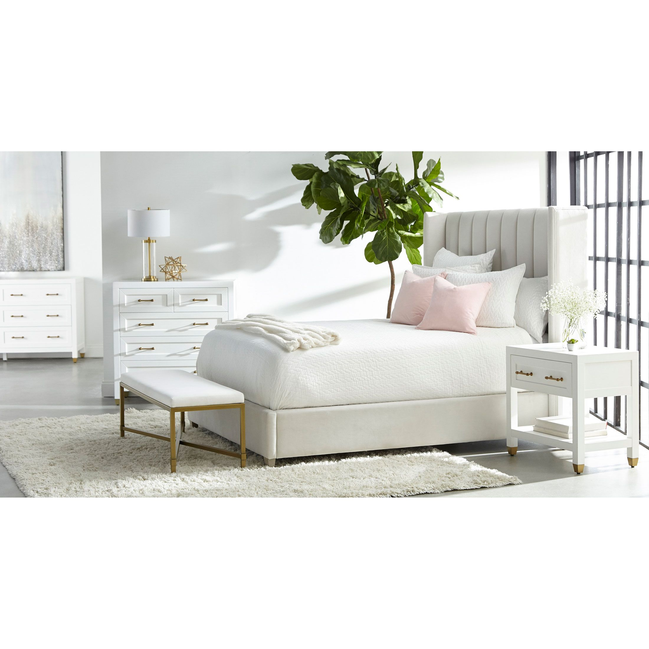 Stacy Modern Classic 1 Drawer Brass Accent White Nightstand In 2021 Winged Bed Cal King Bedding Upholster