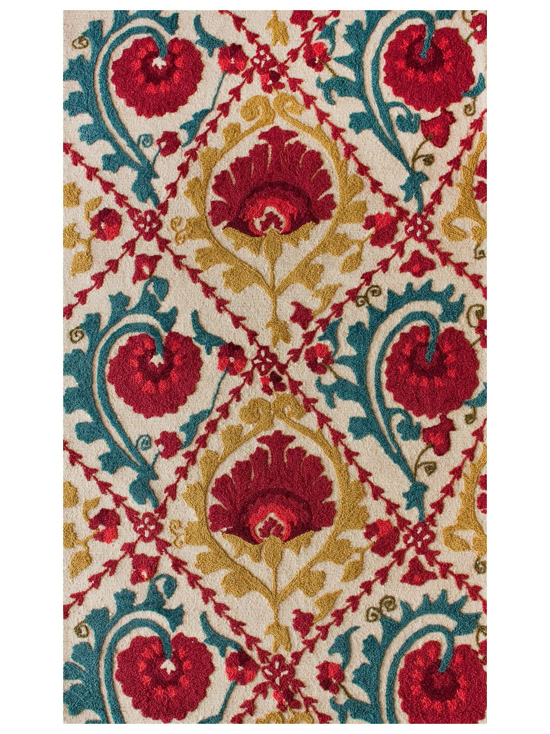 Seville Hand Tufted Rug In Mustard Turquoise And Red