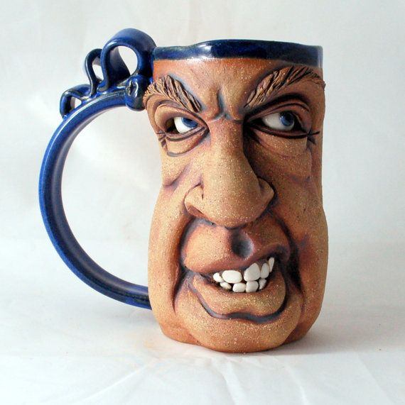 EDGY one of a kind FACE MUG by Herksworks on Etsy