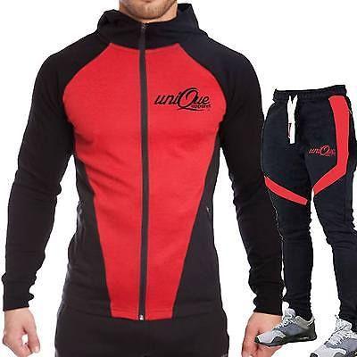 Mens Tracksuit Set Stylish CONTRAST Zipper Hoodie Top Bottoms Jogging Jogger Gym