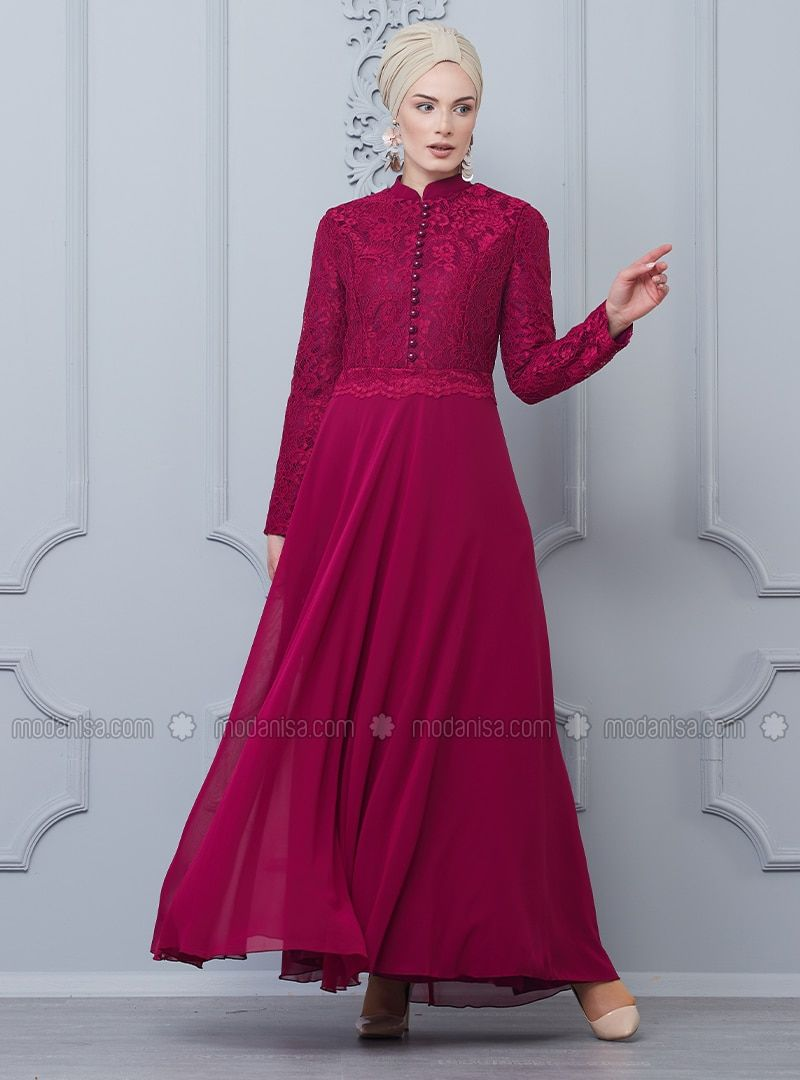 Butik Nese Cherry Fully Lined Crew Neck Muslim Evening Dress Bajuraya Eveningdress Muslimeveningdress Hijabdressparty Elbise Mod Baju Muslim Muslim Jubah