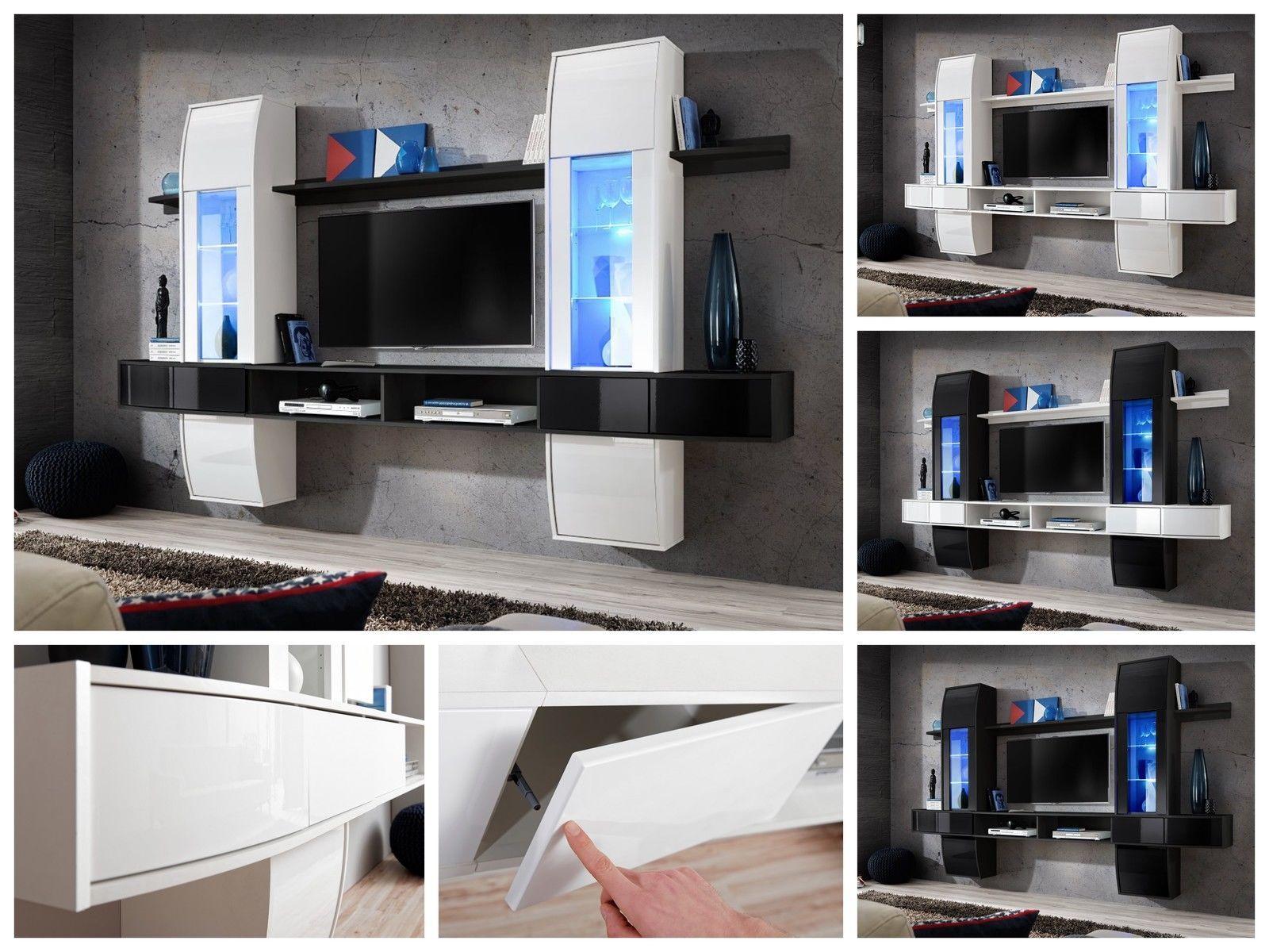 Fesselnde Wohnzimmer Schrankwand Ideen Von Anbauwand Et I Hochglanz Pvc Led Beleuchtung