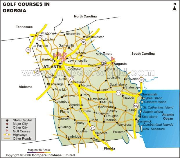 Georgia Golf Courses Map shows the various golf courses in major