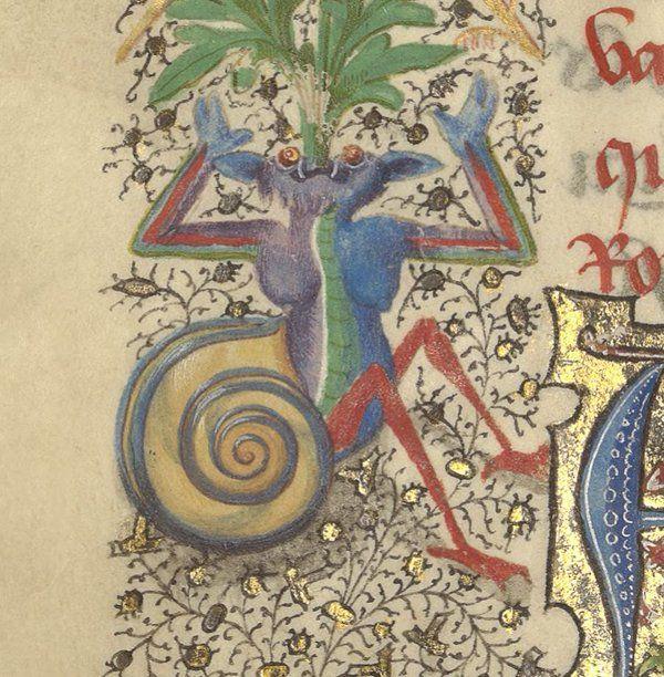 lovely beings; 愛しい欄外のモノたち。1454年 Bibliothèque de l'Arsenal, Ms-5087 réserve f.96v f.156v f.383v