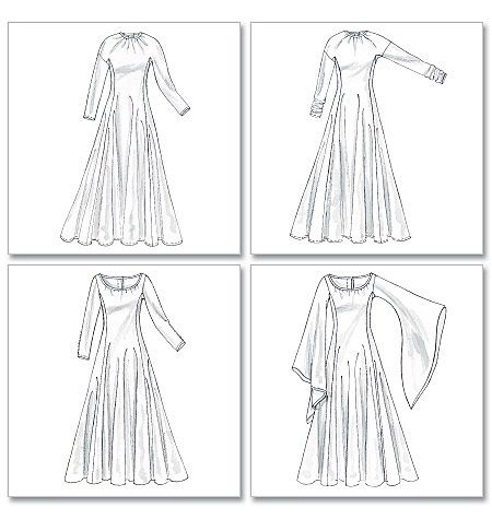 789bb46cd31f8 Pattern  McCall s M4490 Medieval Costumes Dresses have sleeve variations  with gusset