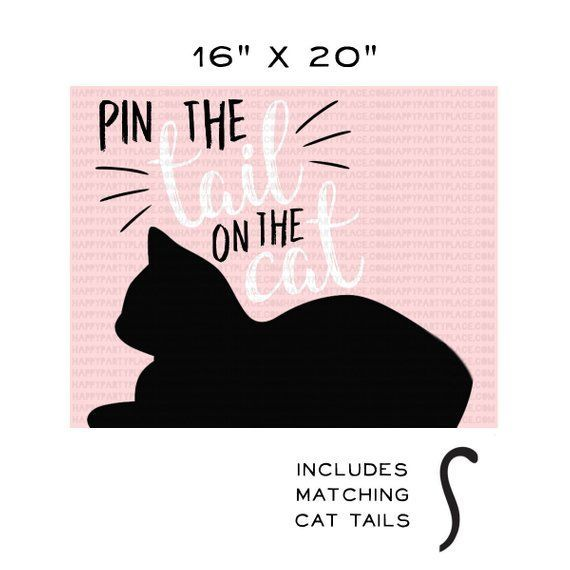 Photo of INSTANT DOWNLOAD Kitty Cat Party Game, Pin The Tail On The Cat Party Game, Kitte…