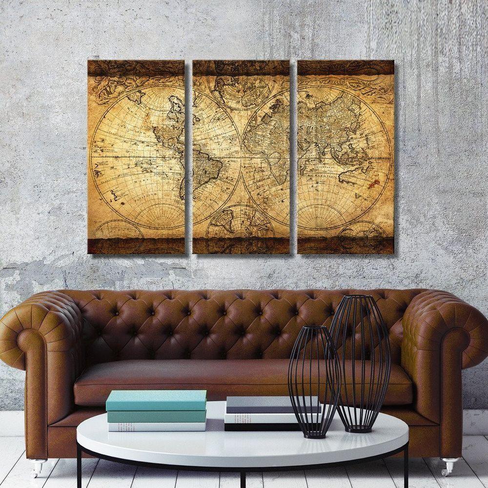 Vintage mega world map large antique 3 panels wall mount living room vintage mega world map large antique 3 panels wall mount living room decoration vintagemegaworldmap vintage gumiabroncs Gallery