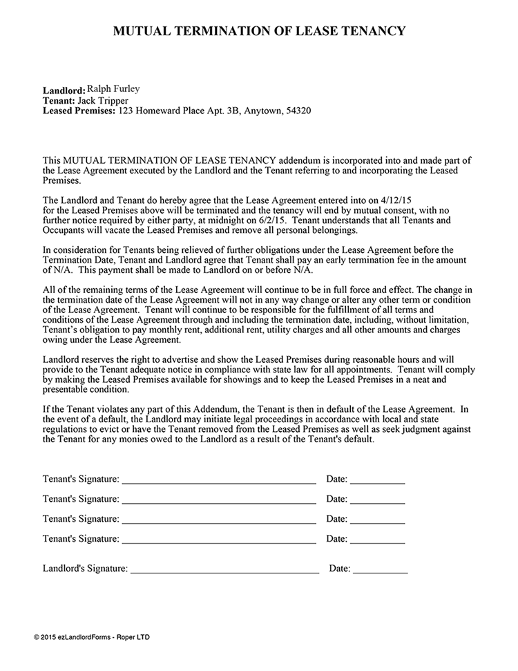 Mutual termination of lease tenancy ez landlord forms for Landlord end of tenancy letter template