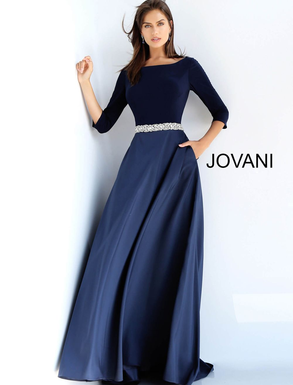 b69355e8466d This Jovani 49269 navy blue mother of the bride dress features an A-line  silhouette, with three-quarter sleeves to frame the Sabrina neckline and  full back.
