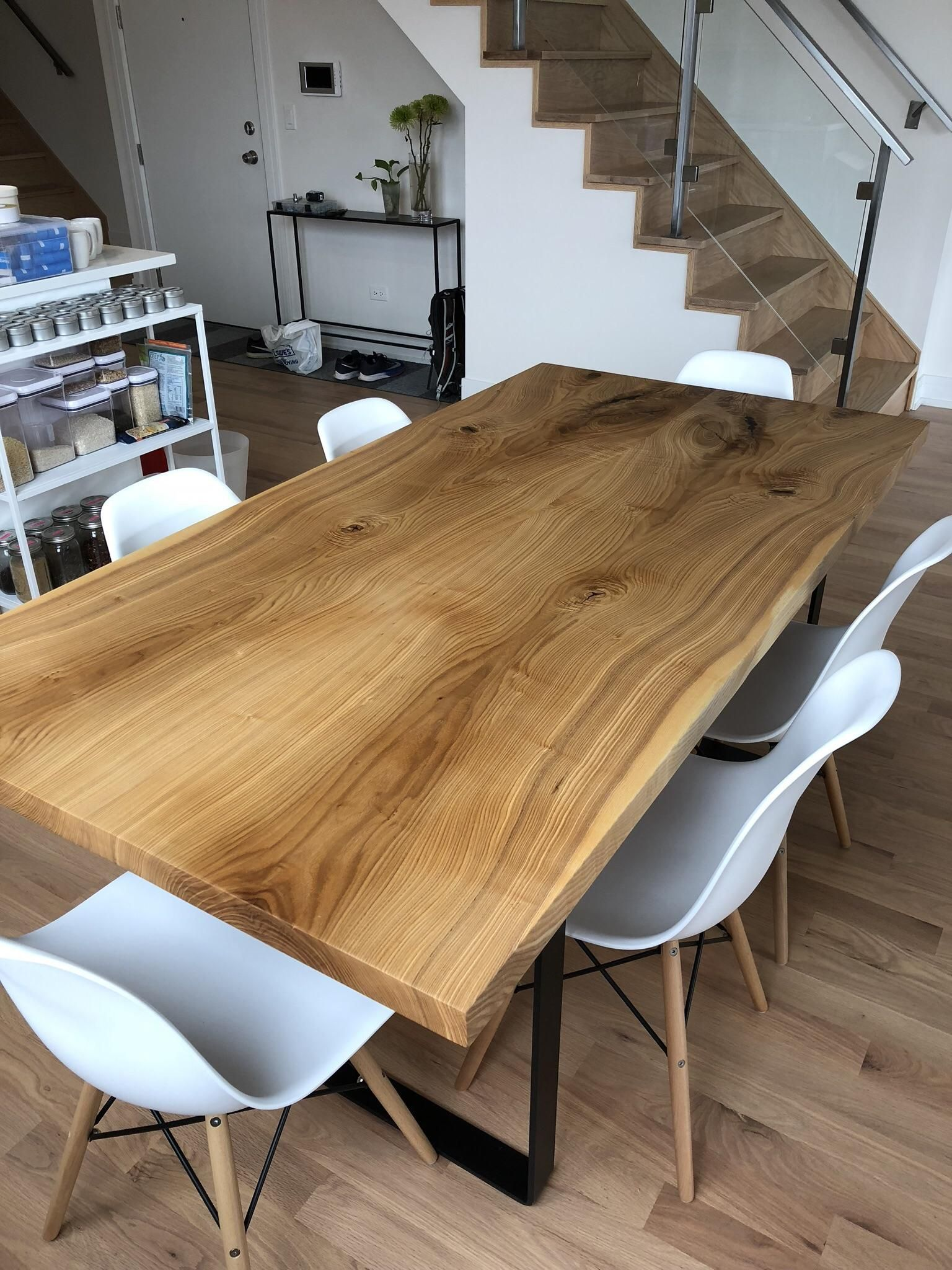 Bookmatched Ash Not Live Edge Slab Dining Table Build Album In Comments Http Slab Dining Room Table Live Edge Table Dining Rooms Live Edge Slab Dining Table