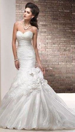 Organza Fit And Flare Wedding Gown With Bubble Hem
