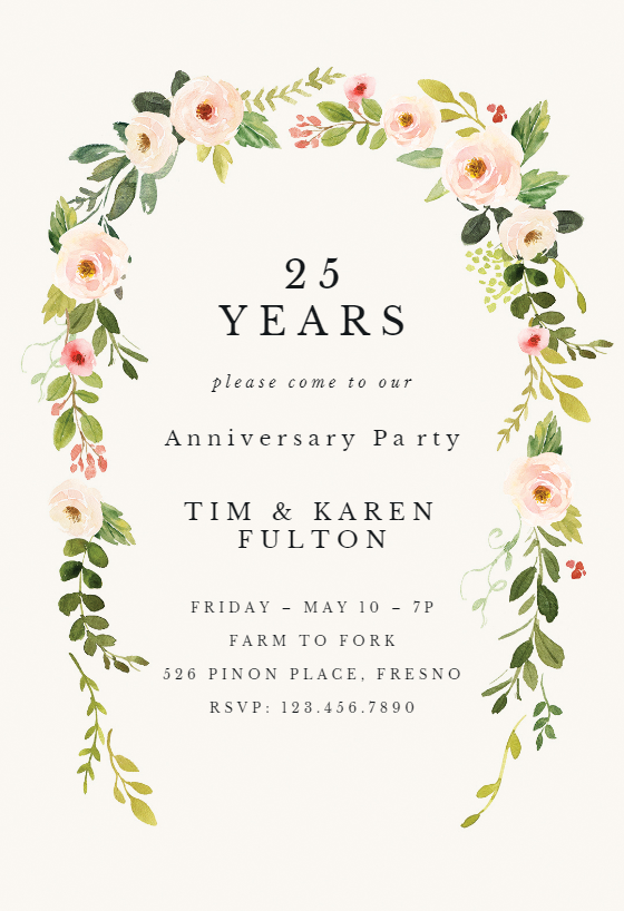 Falling Flowers Anniversary Invitation Template Free In