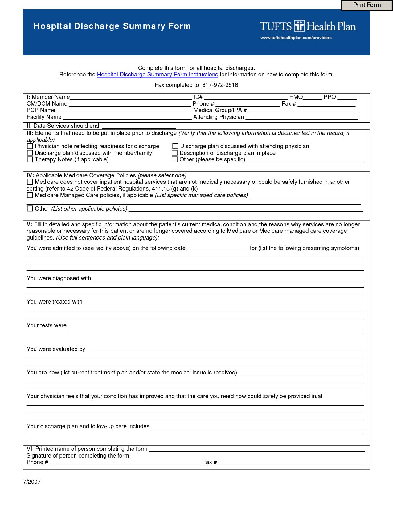 Sample Hospital Discharge Forms