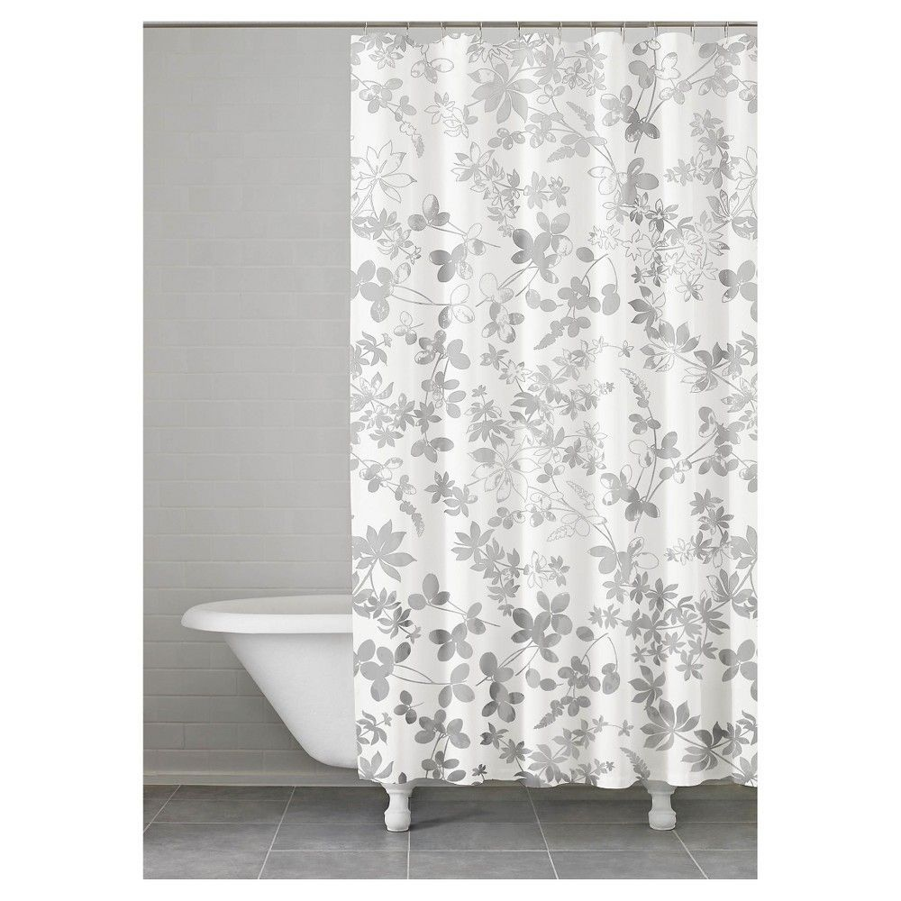 Floral Ombre Shower Curtain Grey 74x74