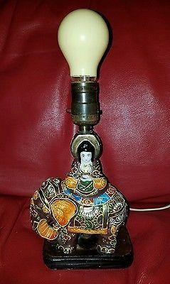 Vintage Working Japanese Satsuma Moriage Elephant Lamp Made In Japan Elephant Lamp Elephant Decor Lamp