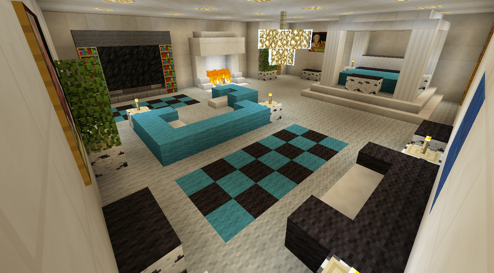 Minecraft bedroom with living area furniture and canopy for Minecraft living room designs