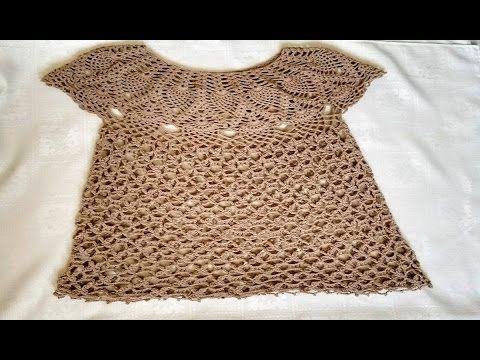 Blusa Tejida En Crochet Blusa Tejida Para Dama En Ganchillo Parte 1 Vestidos De Ganchillo Blusas Tejidas A Crochet Blusa Tejida A Gancho