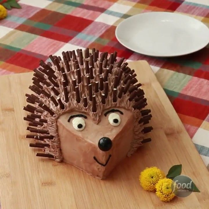 "Food Network on Instagram: ""This cute-as-can-be Hedgehog Cake is easy to make, and has edible chocolate quills! (Great job, @alanajonesmann!) . . .  Watch the…"" #hedgehogcake"