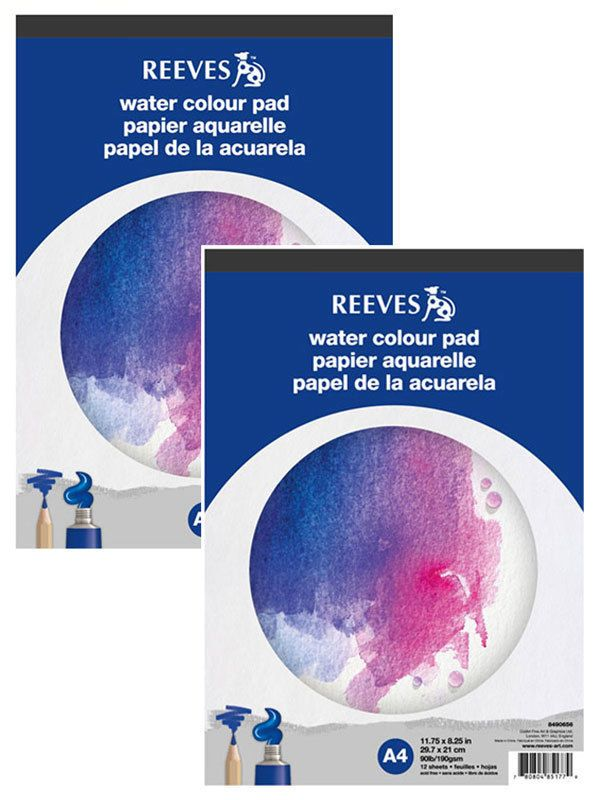 2x A4 Aquarellblock Aquarellpapier Aquarellmalpapier 190g Reeves