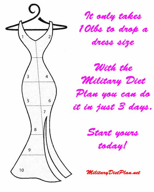 drop a dress size in a week diet plan