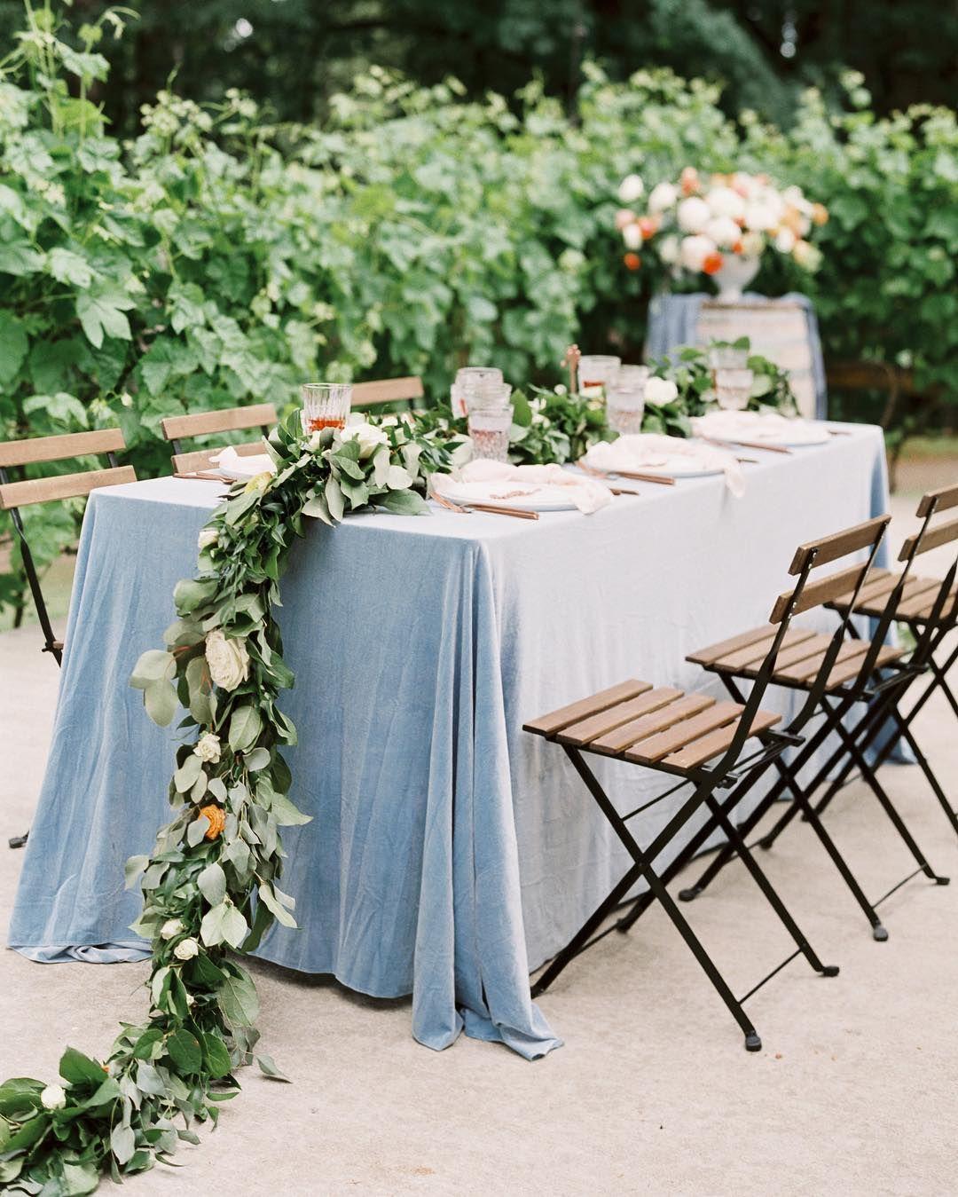 Blue Velvet Table Linen for Blue themed Weddings
