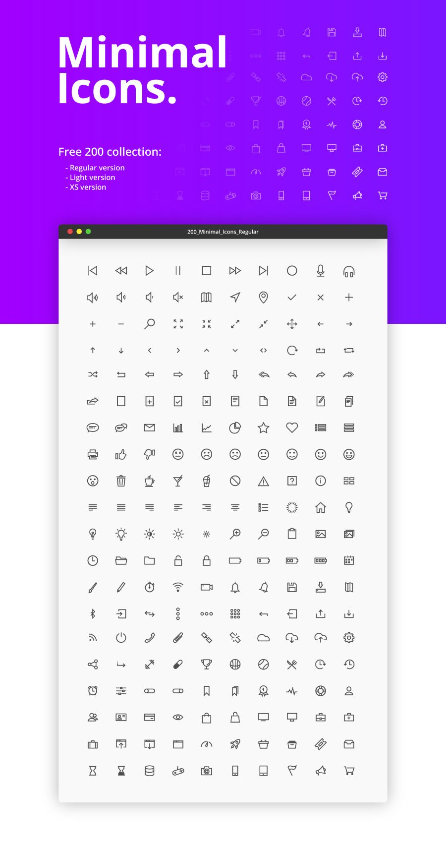 200 Minimal Vector UI Icons | Icons and Graphic design inspiration