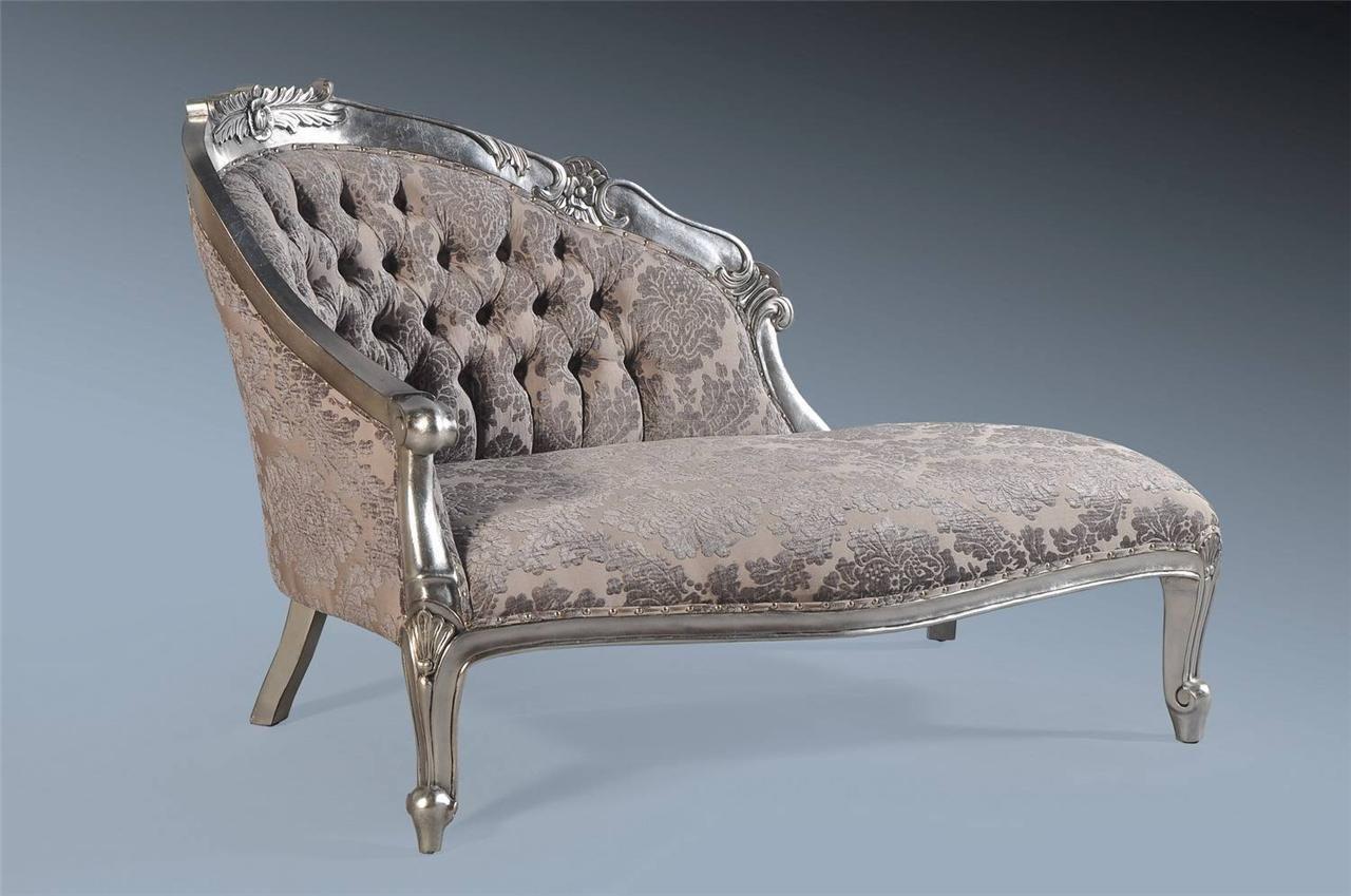 French Boudoir Grey Velvet Damask Antique Silver Leaf Sofa