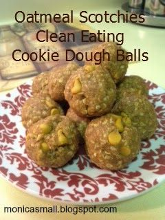Oatmeal Scotchies Clean Eating Cookie Dough Balls.  Seriously delicious healthy treat!