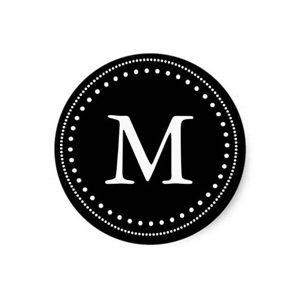 Black white monogram envelope seal classic round sticker 43 nok ❤ liked on polyvore
