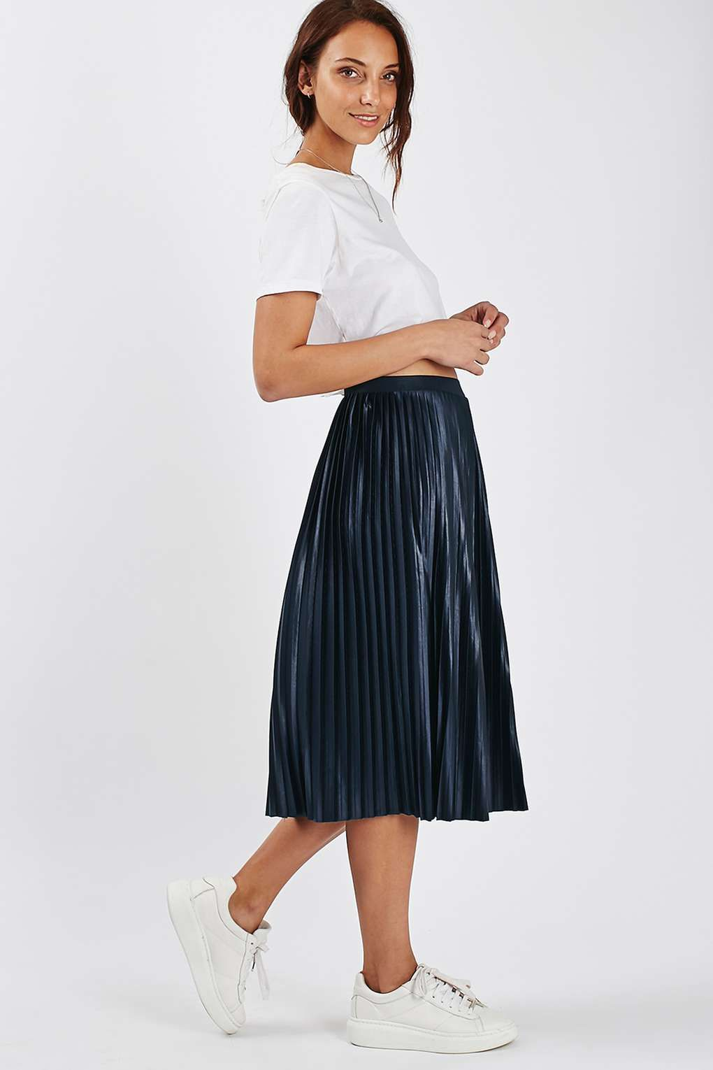 Jersey Pleat Midi Skirt | Topshop, Navy pleated skirt and Paris ...