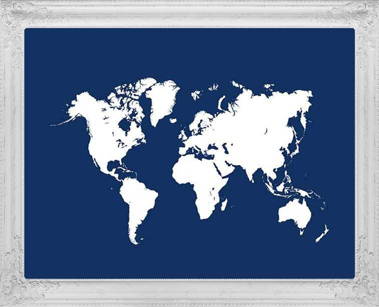 Navy blue map of the world travel map world map poster world map navy blue map of the world travel map world map poster world gumiabroncs Choice Image