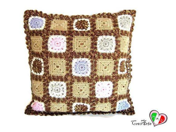 Decorazioni Per Cuscini.Brown Crochet Cover For Pillow Cover Con Piastrelle Marrone Per