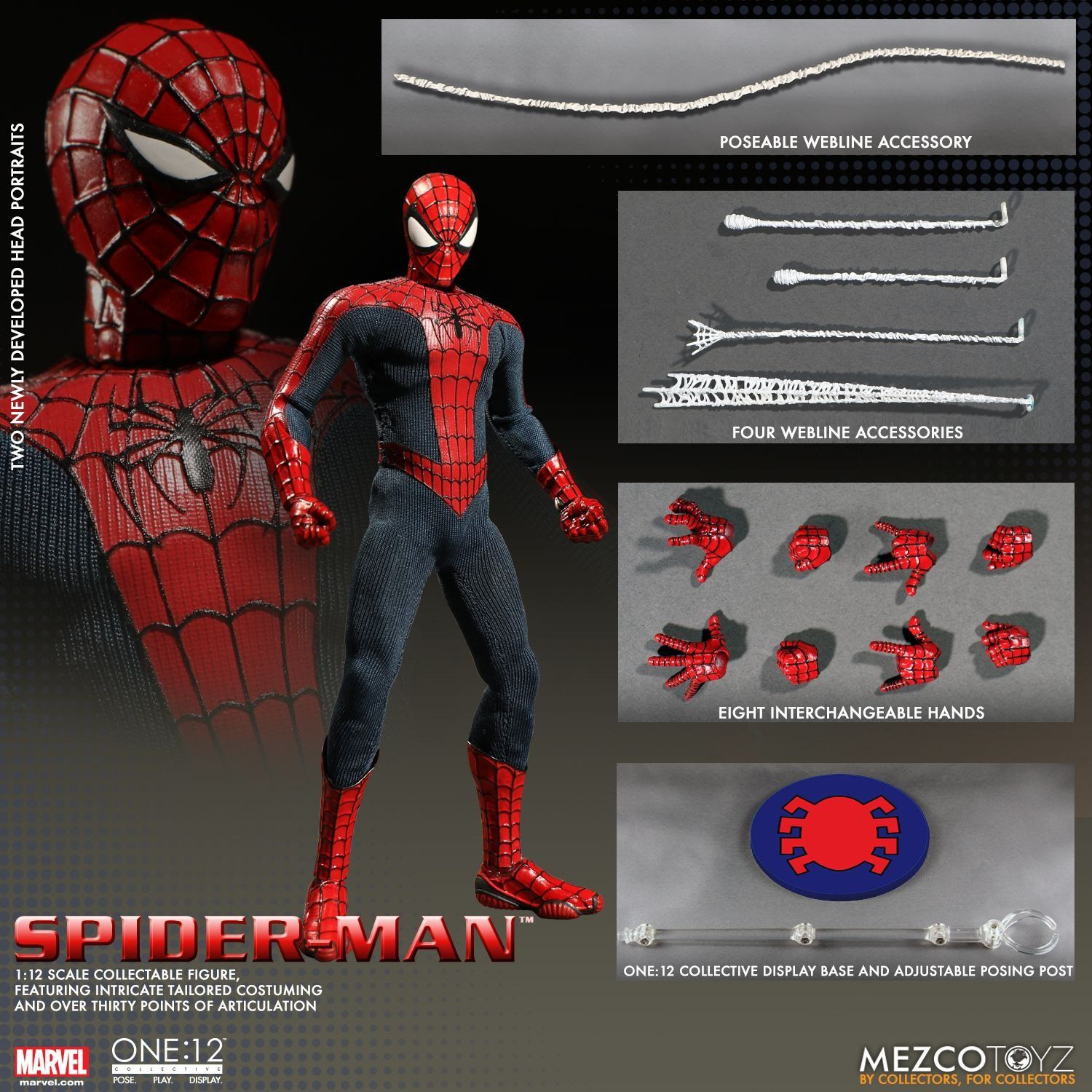 Mezco Marvel Avengers Spiderman Home Coming SPIDER MAN ACTION FIGURE One:12