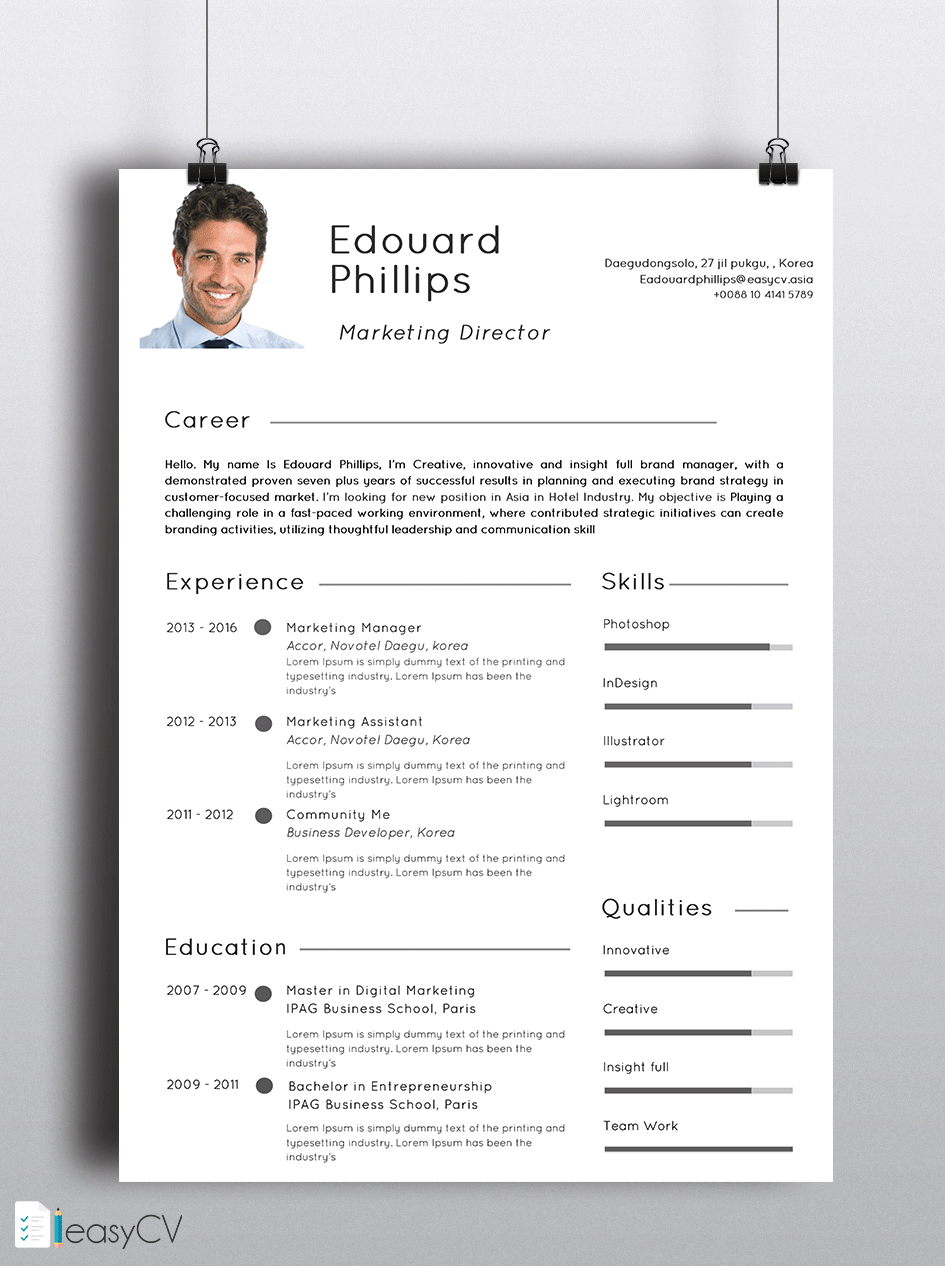 Pin By Easycv On Template Cv    Resume Words Template