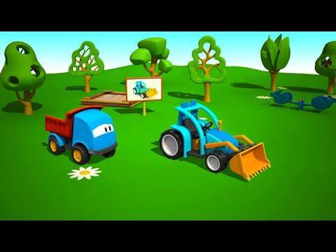 Leo La Troca Curiosa El Tractor Caricaturas De Coches Camion De Bomberos Caricaturas De Carros Ninos Gif