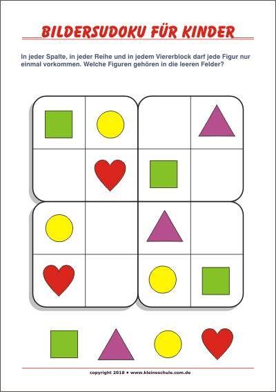 Bilder Sudoku für Kinder! Kostenlose Sudokus für die Vorschule und ...