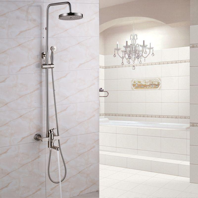 123 86 Brushed Nickel Rainfall Bathroom Shower Mixers Single