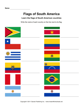 South American Flags South American Flags South America Educational Worksheets