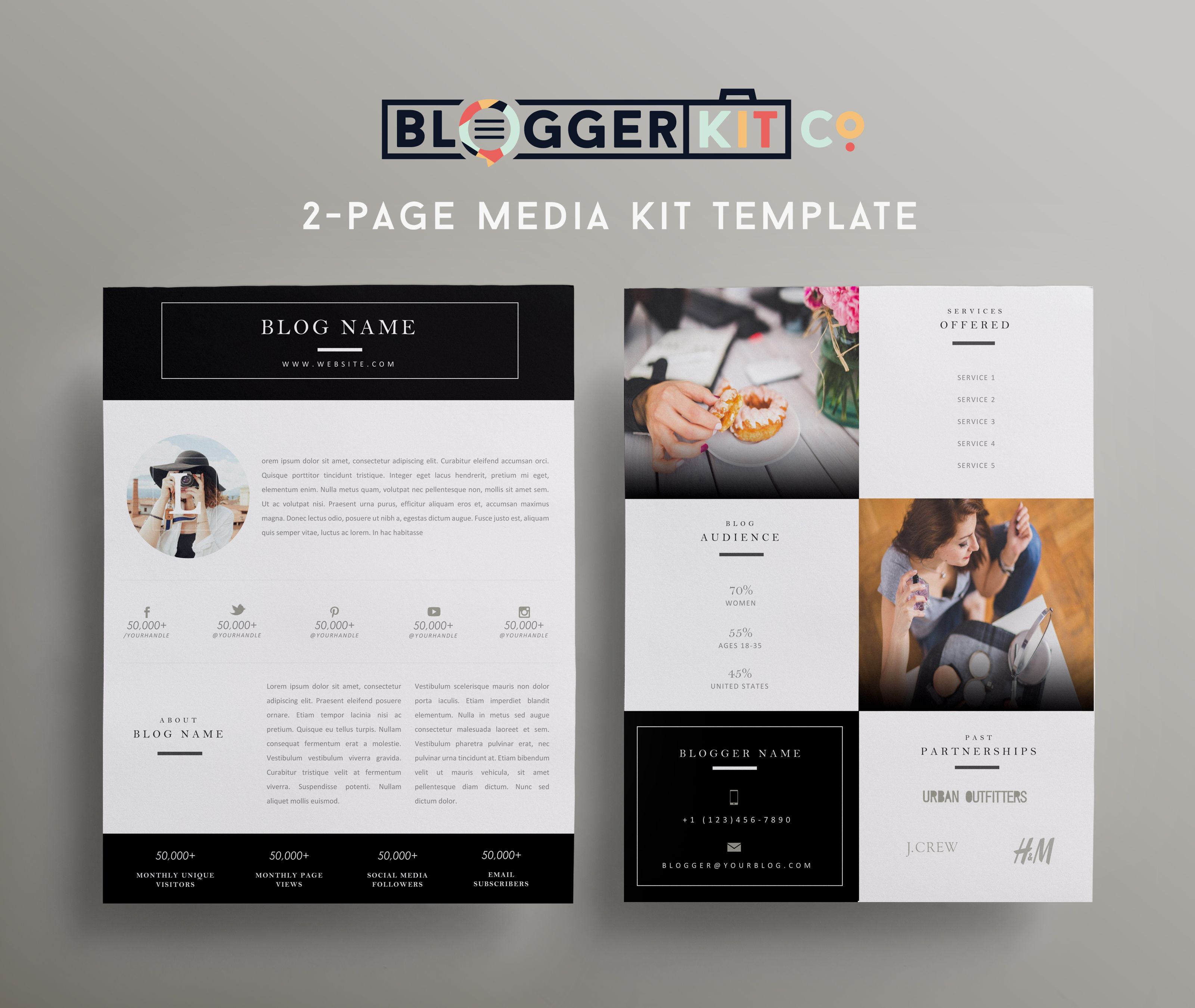 Beauty Blogger II (Black) Media kit template, Media kit