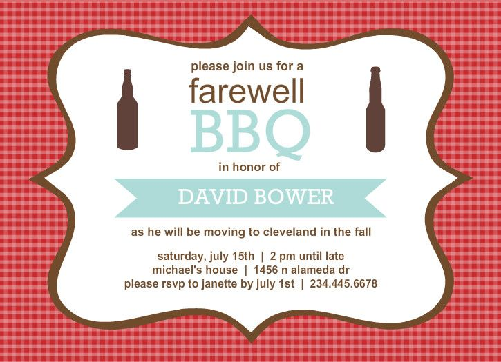 Farewell Party Invitations  Checkered Backyard Bbq Farewell Party
