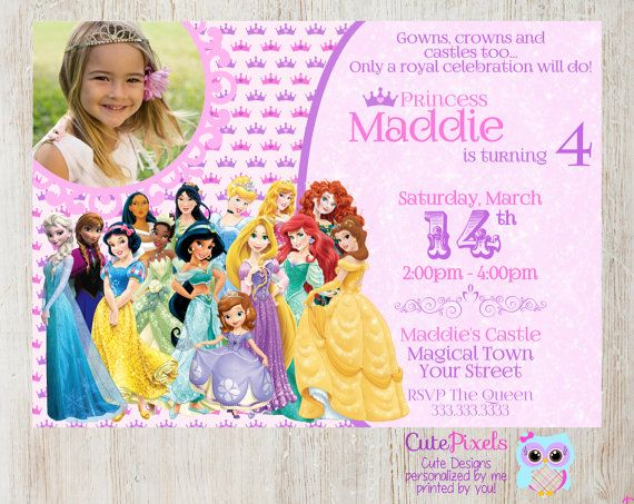 Disney Princess Invitation, Princess Birthday, Click to see details, Use Coupon Code PIN15 to get 15%off - CutePixels shop  http://etsy.me/1S7ksKd