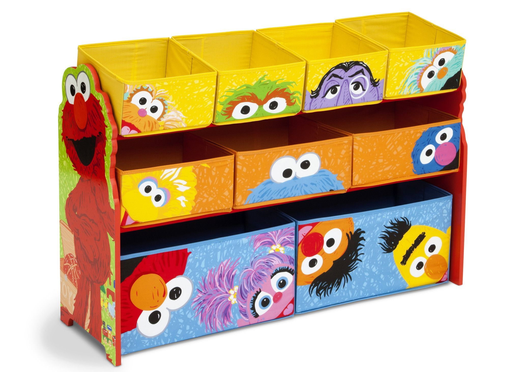 With this sesame street deluxe multi bin toy organizer of course supported by sturdy wooden frame it features nine fabric bins