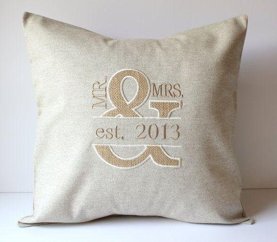 Mr Mrs Appliqued Monogrammed Pillow Cover Burlap Linen Wedding Bridal Sewgracious Sewgracious Monogram Pillows Pillow Covers Applique Monogram