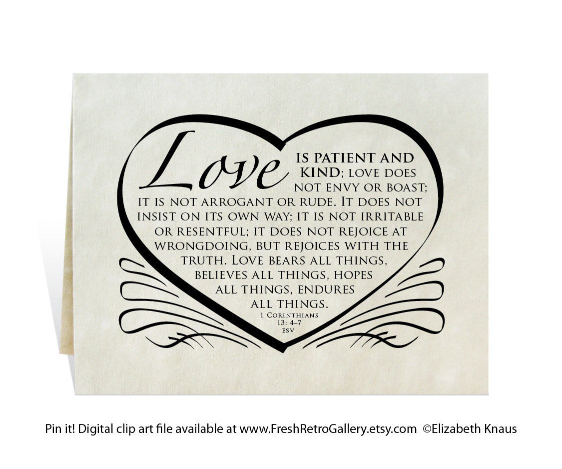 Wedding card, program, invitation, love is patient and kind Bible ...