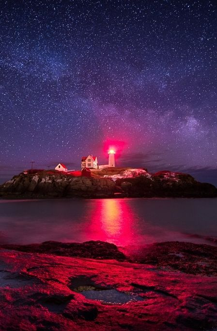 Milky Way over Nubble Lighthouse photo by Adam Woodworth