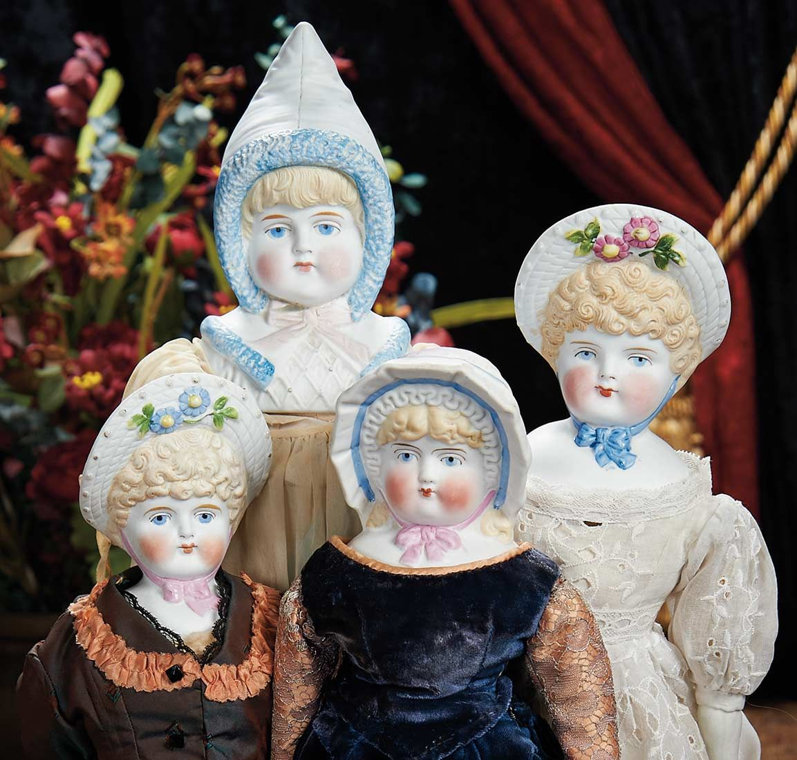 "The Lifelong Collection of Berta Leon Hackney: 532 Four German Bisque ""Bonnet"" Dolls by Hertwig"