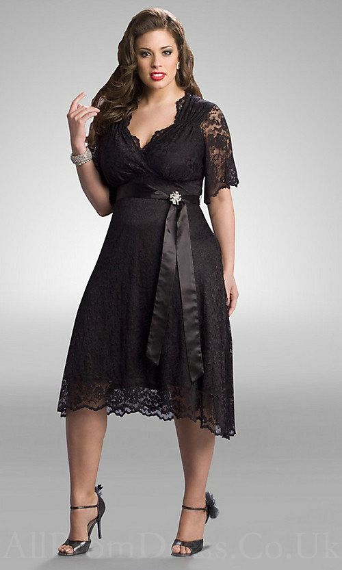 Designer Plus Size Dress | Black Lace Cocktail Dress for the