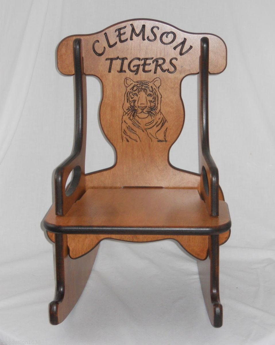 Wooden Child Rocker Rocking Chair Clemson Tigers Solid Wood USA Made Keepsake on PopScreen