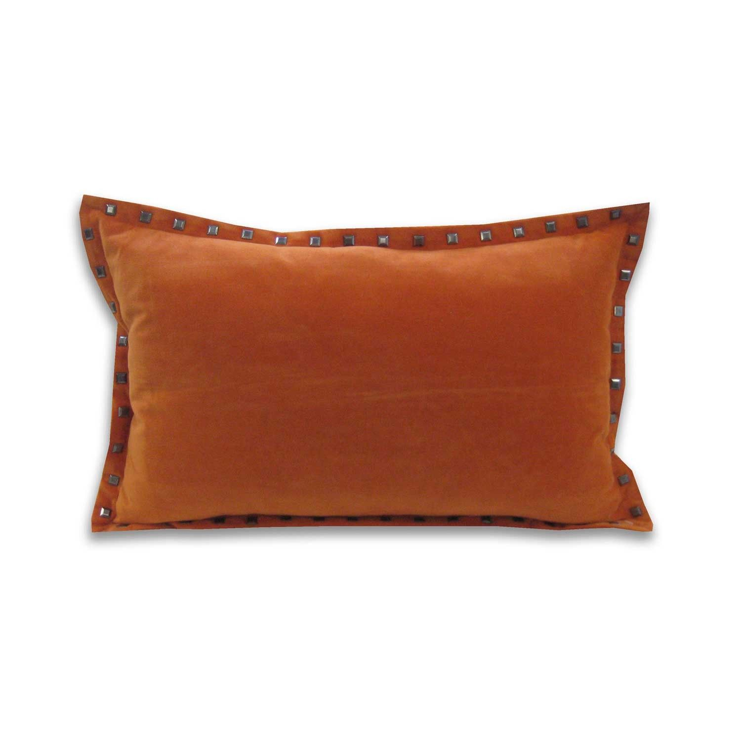Payton Velvet Pillow - Burnt Orange - Stay à  la mode with this rocker chic silver studded pillow.